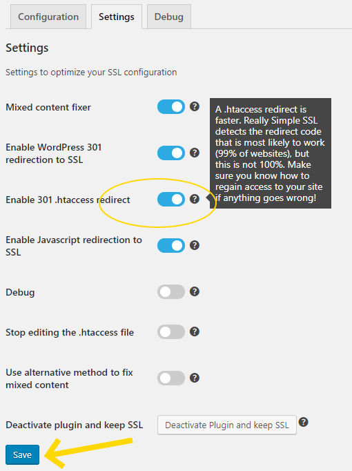 enable 301 .htaccess redirection